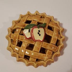 Apple Pie Ceramic Small  Covered Decorative Dish